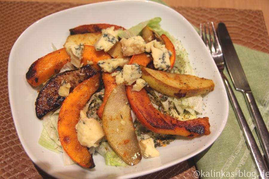 Salat mit Birne und Kürbis