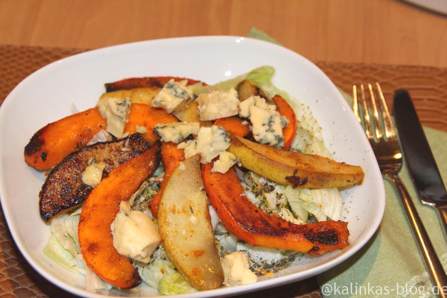 Salat mit Birne und Kürbis2